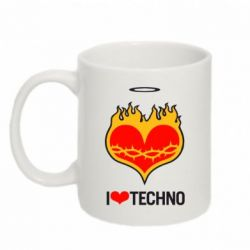 Кружка 320ml I love Techno logo - FatLine