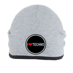 Шапка I love techno music - FatLine