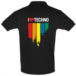 Футболка Поло I love techno - FatLine