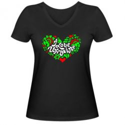 Женская футболка с V-образным вырезом I love Ukraine heart - FatLine