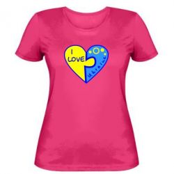 Женская футболка I love Ukraine пазлы - FatLine