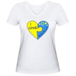 Женская футболка с V-образным вырезом I love Ukraine пазлы - FatLine