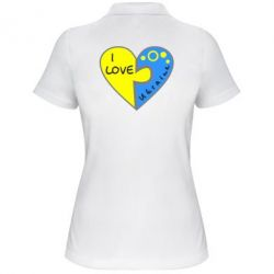 Женская футболка поло I love Ukraine пазлы - FatLine