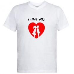 Мужская футболка  с V-образным вырезом I love you - FatLine