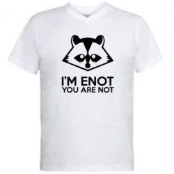 Мужская футболка  с V-образным вырезом I'm ENOT - FatLine
