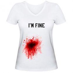 Женская футболка с V-образным вырезом I'm fine - FatLine
