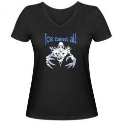 Женская футболка с V-образным вырезом Ice takes all Dota - FatLine