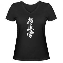 Женская футболка с V-образным вырезом Иероглиф - FatLine