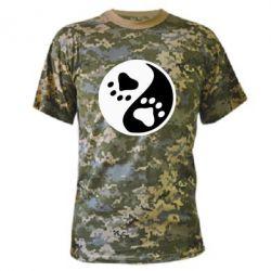 Камуфляжная футболка инь янь лапки - FatLine