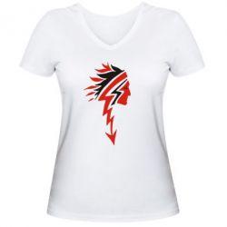 Жіноча футболка з V-подібним вирізом індіанець - FatLine