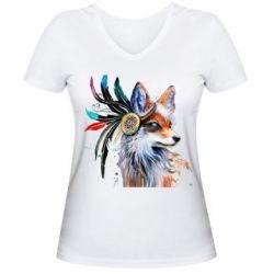Женская футболка с V-образным вырезом Indian Fox
