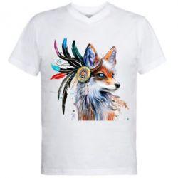 Мужская футболка  с V-образным вырезом Indian Fox