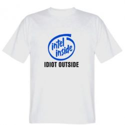 Мужская футболка Intel inside, idiot outside - FatLine