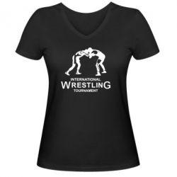 Женская футболка с V-образным вырезом International Wrestling Tournament