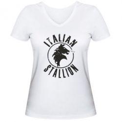 Женская футболка с V-образным вырезом Italian Stallion
