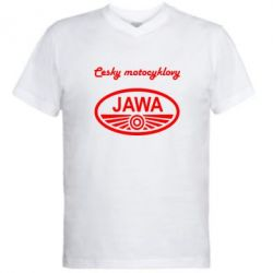 Мужская футболка  с V-образным вырезом Java Cesky Motocyclovy - FatLine