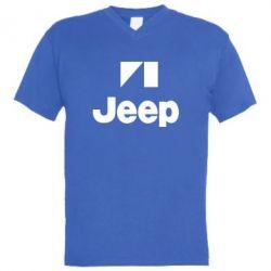 Мужская футболка  с V-образным вырезом Jeep Logo - FatLine
