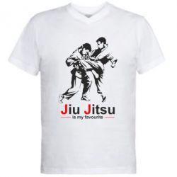 Мужская футболка  с V-образным вырезом Jiu Jitsu