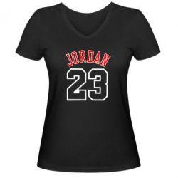 Женская футболка с V-образным вырезом Jordan 23 - FatLine