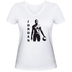 Женская футболка с V-образным вырезом Jordan - FatLine