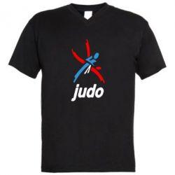 Мужская футболка  с V-образным вырезом Judo Logo - FatLine