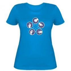 Женская футболка Камень, ножницы, бумага, ящерица, спок - FatLine