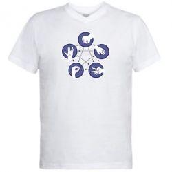 Мужская футболка  с V-образным вырезом Камень, ножницы, бумага, ящерица, спок - FatLine
