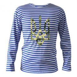 Тельняшка с длинным рукавом Камуфляжный герб Украины - FatLine