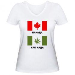 Женская футболка с V-образным вырезом Канада Как надо - FatLine