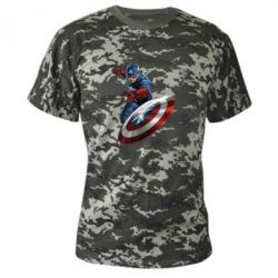 Камуфляжная футболка Капитан Америка - FatLine