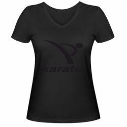 Женская футболка с V-образным вырезом Karate - FatLine