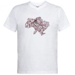 Мужская футболка  с V-образным вырезом Карта України з серцем - FatLine