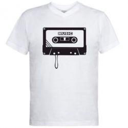 Мужская футболка  с V-образным вырезом Кассета - FatLine