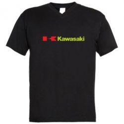 Мужская футболка  с V-образным вырезом Kawasaki Logo - FatLine