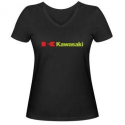 Женская футболка с V-образным вырезом Kawasaki Logo - FatLine