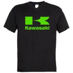 Мужская футболка  с V-образным вырезом Kawasaki - FatLine
