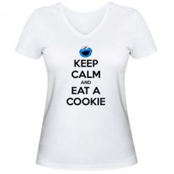 ������� �������� � V-�������� ������� Keep Calm and Eat a cookie - FatLine
