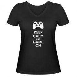 Женская футболка с V-образным вырезом KEEP CALM and GAME ON - FatLine