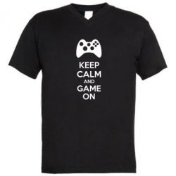 Мужская футболка  с V-образным вырезом KEEP CALM and GAME ON - FatLine