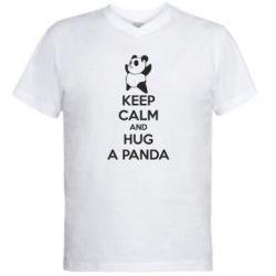 Мужская футболка  с V-образным вырезом KEEP CALM and HUG A PANDA - FatLine