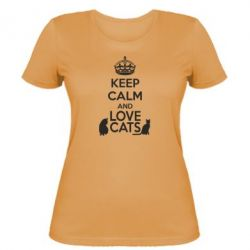 Женская футболка KEEP CALM and LOVE CATS - FatLine