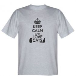 Мужская футболка KEEP CALM and LOVE CATS - FatLine