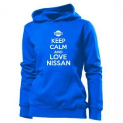 Женская толстовка Keep calm and love Nissan - FatLine