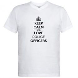 ������� ��������  � V-�������� ������� Keep Calm and Love police officers - FatLine