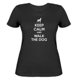 Женская футболка KEEP CALM and WALK THE DOG - FatLine