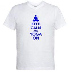 Мужская футболка  с V-образным вырезом KEEP CALM and YOGA ON - FatLine