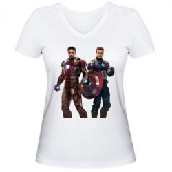 Женская футболка с V-образным вырезом Кэп и Тони