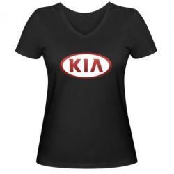 Женская футболка с V-образным вырезом KIA 3D Logo - FatLine