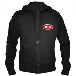Мужская толстовка на молнии KIA Logo 3D - FatLine