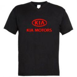 Мужская футболка  с V-образным вырезом Kia Logo - FatLine